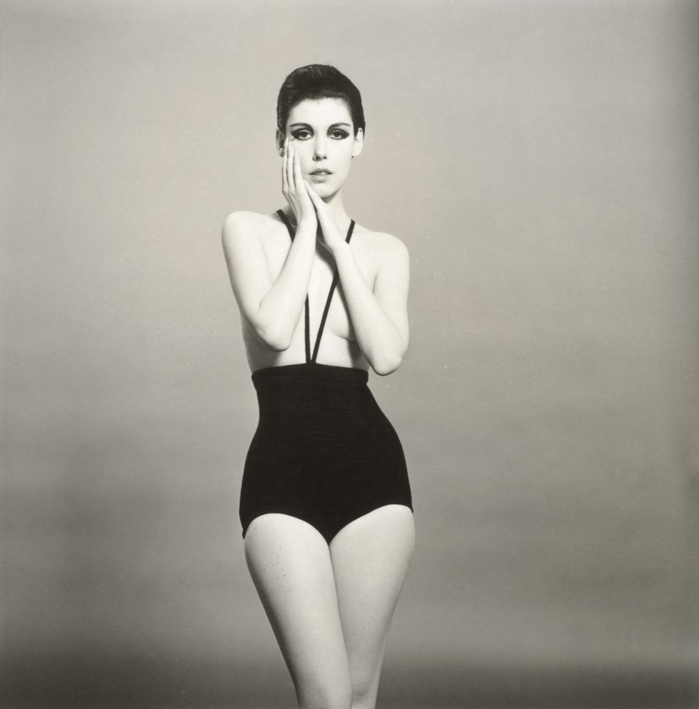 Peggy Moffitt modeling the topless swimsuit designed by Rudi Gernreich, 1964. Photograph © William Claxton, LLC, courtesy of Demont Photo Management & Fahey/Klein Gallery Los Angeles, with permission of the Rudi Gernreich trademark.