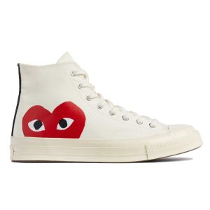 Play Converse Heart High Top White, $150, by Comme des Garcons, at Now or Never, Phoenix