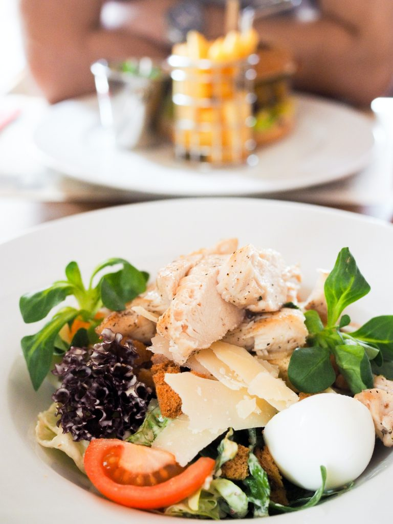 Spring green salad with grilled chicken