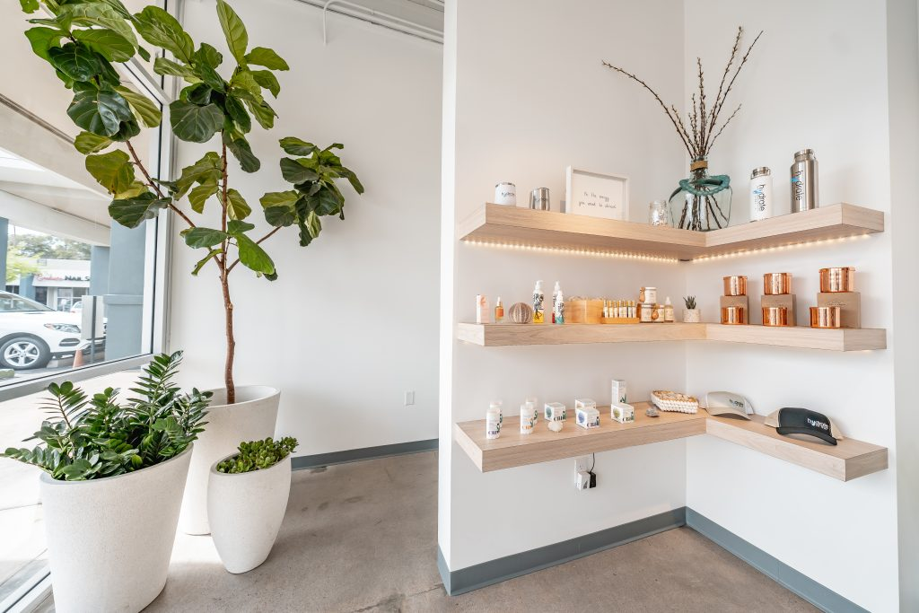 The entrance to Hydrate IV Bar features spa products.
