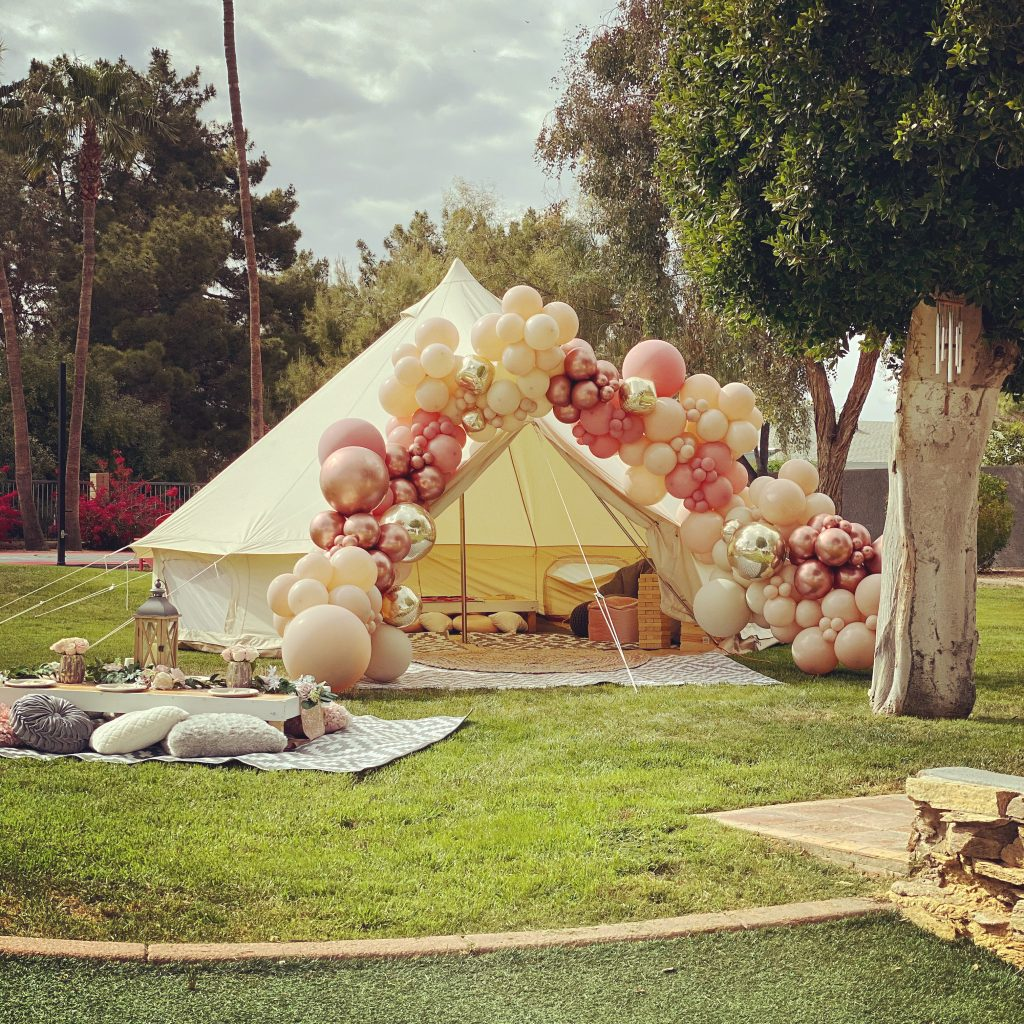 Large backyard tent with balloons