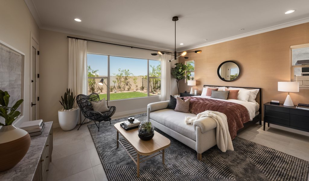 Bedroom in the Acacia plan of Domain at Waterston
