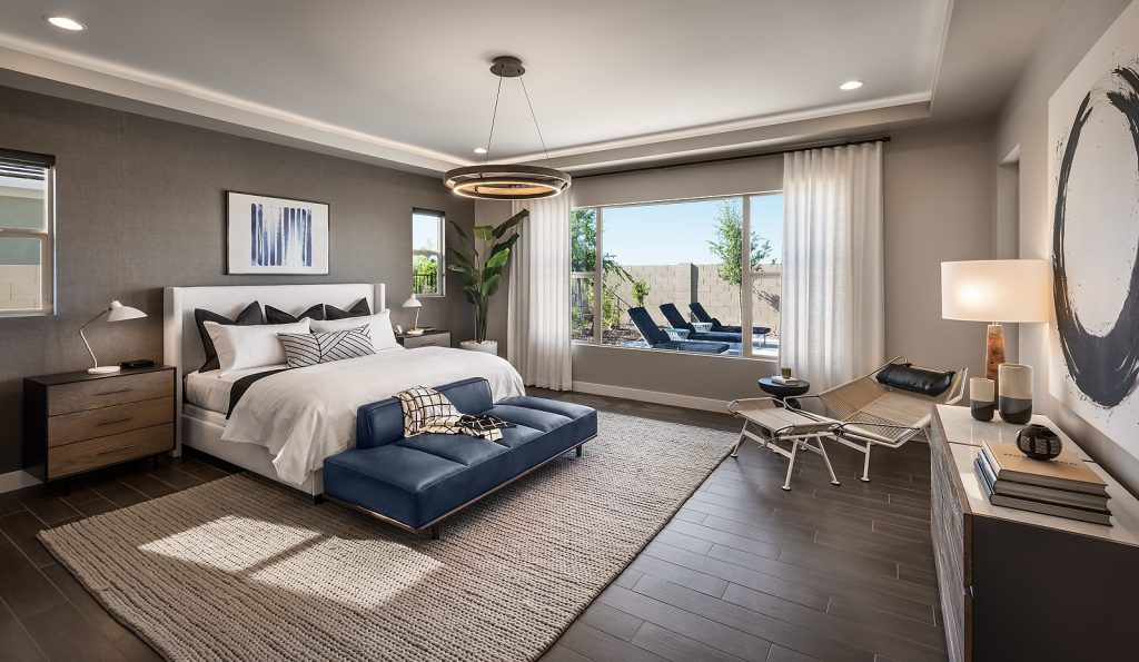 Master bedroom in the Oak plan of Domaine at Waterston