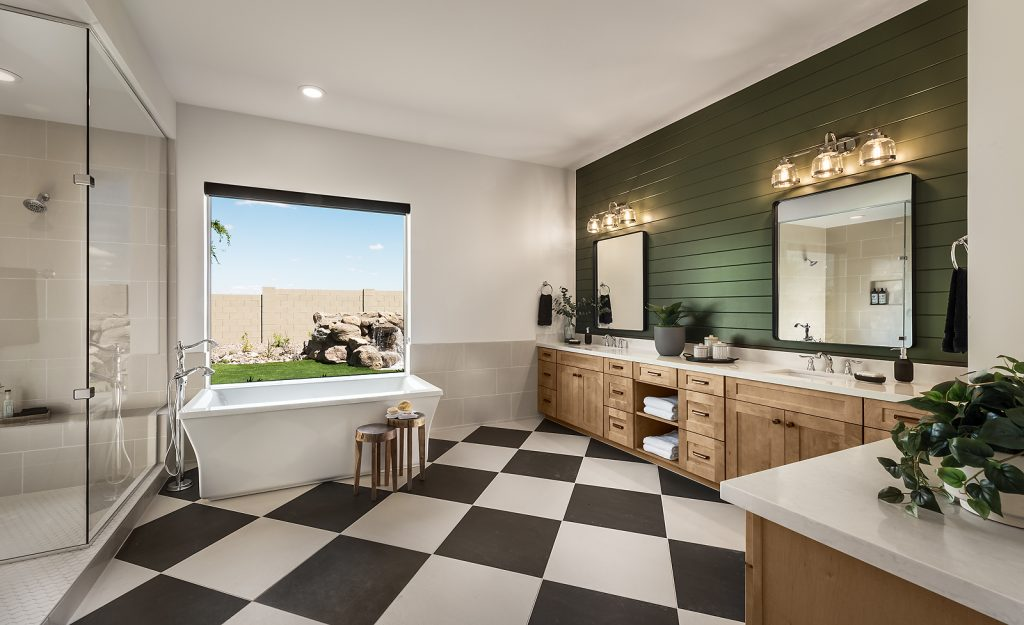 The master bathroom in the Pistache plan of Domaine at Waterston