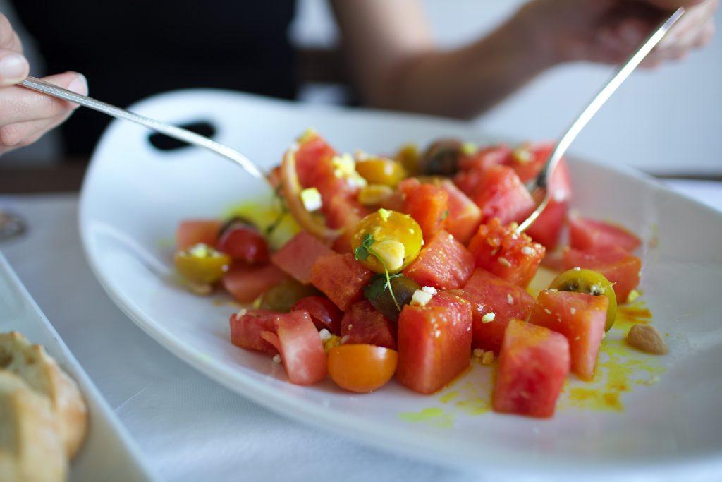 Watermelon heirloom tomato salad